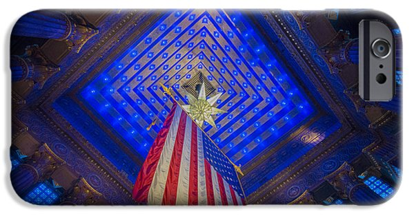 Monument Circle iPhone Cases - Indiana War Memorial Shrine iPhone Case by David Haskett
