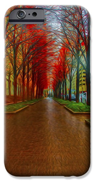 Indiana Autumn iPhone Cases - Indianapolis Autumn Trees OIL iPhone Case by David Haskett