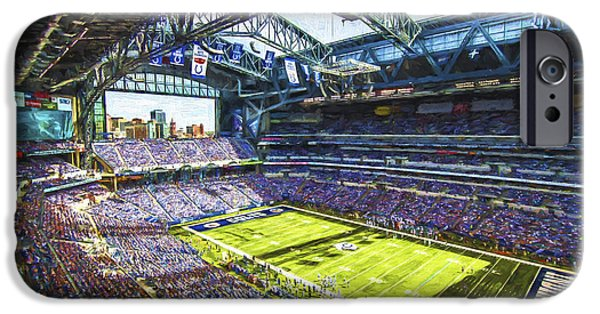 Monument Circle iPhone Cases - Indianapolis Colts Lucas Oil Stadium Painted Digitally iPhone Case by David Haskett