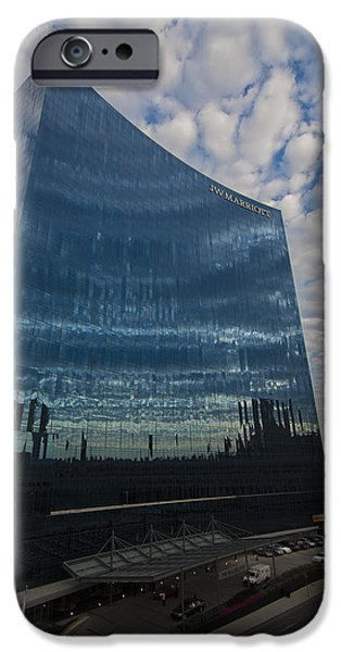 Monument Circle iPhone Cases - Indianapolis Indiana JWMarriott iPhone Case by David Haskett