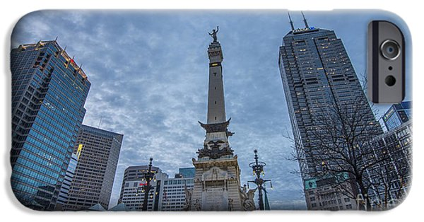 Indiana Springs iPhone Cases - Indianapolis Indiana Monument Circle Blue  iPhone Case by David Haskett