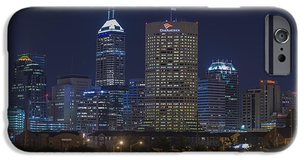 Monument Circle iPhone Cases - Indianapolis Indiana Night Skyline Blue iPhone Case by David Haskett
