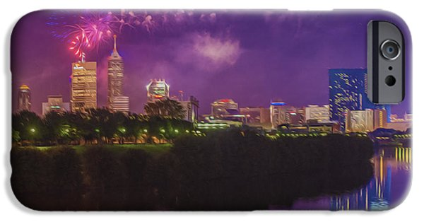 4th July Photographs iPhone Cases - Indianapolis Indiana OIL Fireworks 4th of July iPhone Case by David Haskett