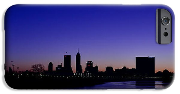 Monument Circle iPhone Cases - Indianapolis Indiana Panoramic Blue Hour Sunrise iPhone Case by David Haskett