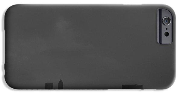 Monument Circle iPhone Cases - Indianapolis Indiana Raining Black White Grain iPhone Case by David Haskett