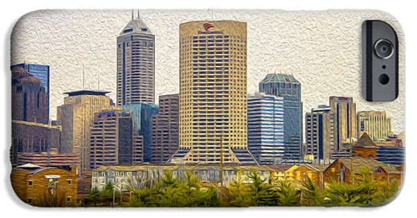 Monument Circle iPhone Cases - Indianapolis Indiana Skyline Digitally Painted iPhone Case by David Haskett