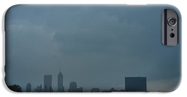 Monument Circle iPhone Cases - Indianapolis indiana Skyline during a Rain Downpour iPhone Case by David Haskett