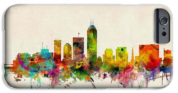 State iPhone Cases - Indianapolis Indiana Skyline iPhone Case by Michael Tompsett