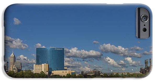 Monument Circle iPhone Cases - Indianapolis Indiana Skyline Pano 10 iPhone Case by David Haskett