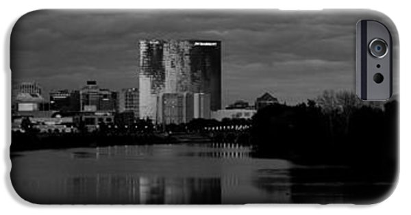 Monument Circle iPhone Cases - Indianapolis Indiana Skyline Panoramic Black White iPhone Case by David Haskett
