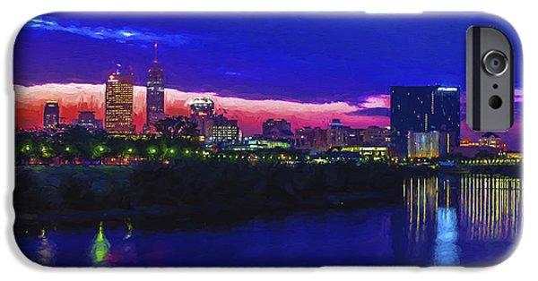Monument Circle iPhone Cases - Indianapolis Indiana Skyline Sunrise Digitally Painted iPhone Case by David Haskett