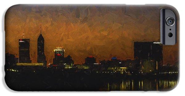 Monument Circle iPhone Cases - Indianapolis Indiana Skyline Sunrise SQuare Digitally Painted iPhone Case by David Haskett