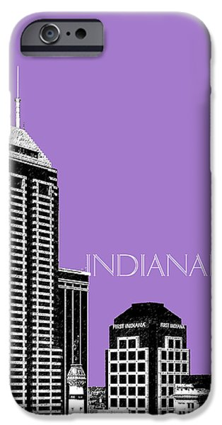 Pen And Ink iPhone Cases - Indianapolis Indiana Skyline - Violet iPhone Case by DB Artist