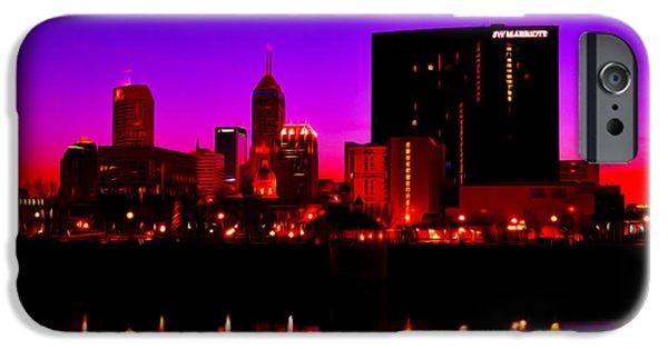Monument Circle iPhone Cases - Indianapolis Indiana SkylineDigitally Painted iPhone Case by David Haskett