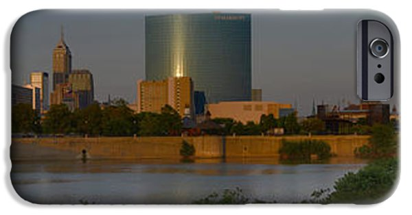 Monument Circle iPhone Cases - Indianapolis Indiana Sunset Panoramic iPhone Case by David Haskett