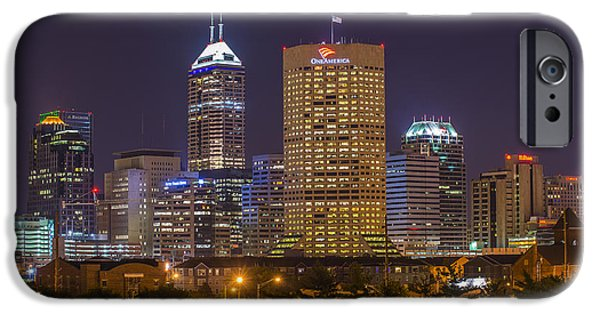 Cubicle iPhone Cases - Indianapolis Night Skyline Echo iPhone Case by David Haskett