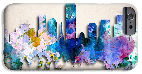 Indiana Art iPhone Cases - Indianapolis Painted City Skyline iPhone Case by World Art Prints And Designs