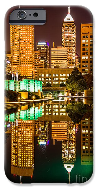 Indiana Rivers iPhone Cases - Indianapolis Skyline at Night Canal Reflection Picture iPhone Case by Paul Velgos