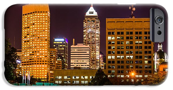Indiana Photography iPhone Cases - Indianapolis Skyline at Night Picture iPhone Case by Paul Velgos