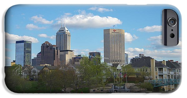 Indy Car iPhone Cases - Indianapolis Skyline Blue 2 iPhone Case by David Haskett