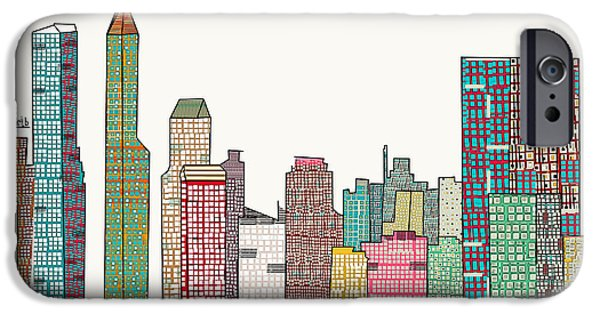 City Scape Mixed Media iPhone Cases - Indianapolis skyline iPhone Case by Bri Buckley