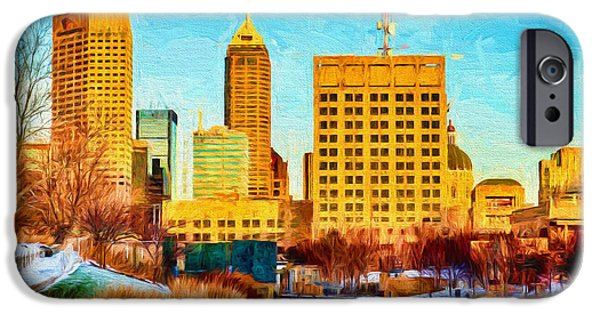 Monument Circle iPhone Cases - Indianapolis Skyline Canal View Digital Painting iPhone Case by David Haskett