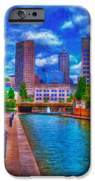 Monument Circle iPhone Cases - Indianapolis Skyline Canal View Digitally Painted Blue iPhone Case by David Haskett