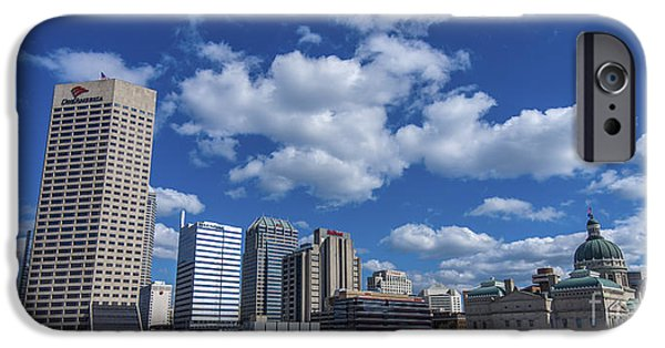 Indy Car iPhone Cases - Indianapolis Skyline Low iPhone Case by David Haskett