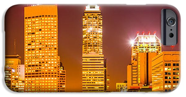 Tree Art Print iPhone Cases - Indianapolis Skyline Panorama Picture  iPhone Case by Paul Velgos