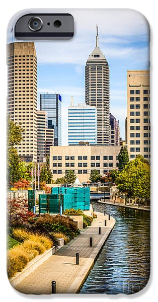 Waterfront Photographs iPhone Cases - Indianapolis Skyline Picture of Canal Walk in Autumn iPhone Case by Paul Velgos