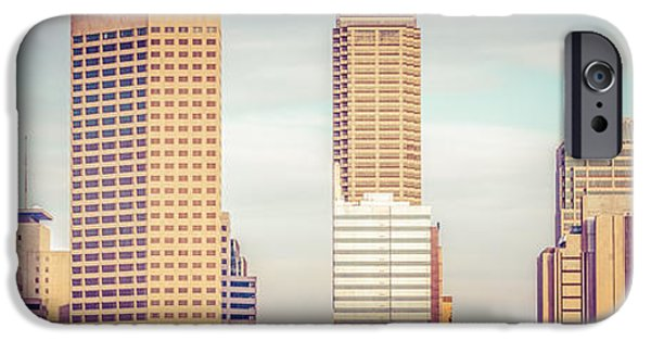 Tree Art Print iPhone Cases - Indianapolis Skyline Retro Panoramic Picture iPhone Case by Paul Velgos