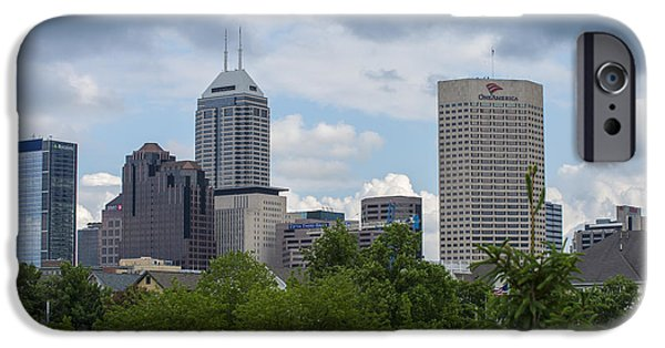 Indy Car iPhone Cases - Indianapolis Skyline Storm 3 iPhone Case by David Haskett