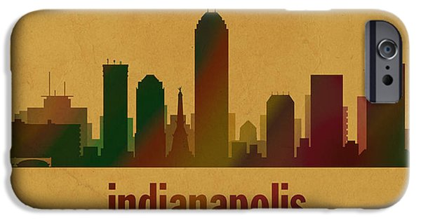 Indianapolis iPhone Cases - Indianapolis Skyline Watercolor on Parchment iPhone Case by Design Turnpike