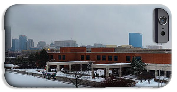 Indiana Landscapes Photographs iPhone Cases - Indianapolis Snow Day Pano iPhone Case by David Haskett
