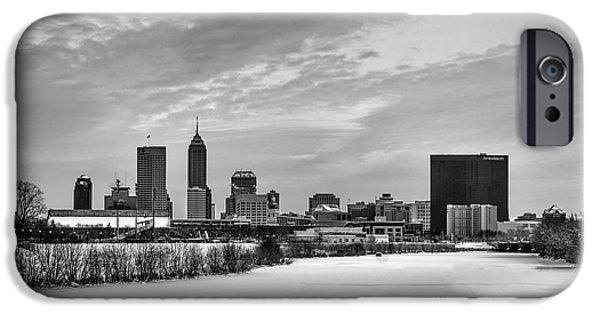 Citylife iPhone Cases - Indianapolis Winters Tale Black and White 2014 iPhone Case by David Haskett