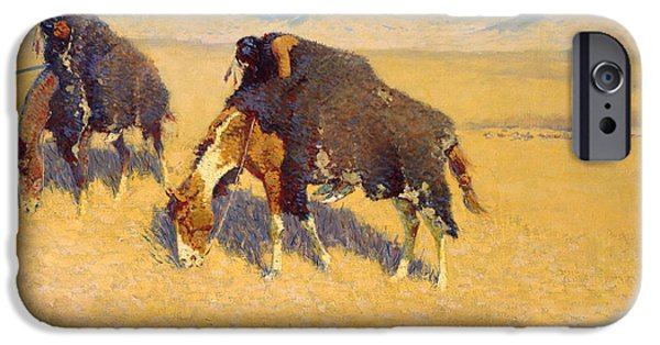 Frederic Remington iPhone Cases - Indians Simulating Buffalo iPhone Case by Frederic Remington