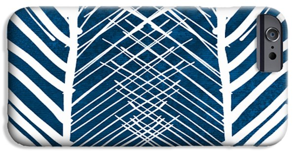 Lines Art iPhone Cases - Indigo and White Leaves- Abstract Art iPhone Case by Linda Woods
