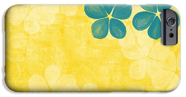 Yellow Flowers iPhone Cases - Indigo and Yellow Flowers iPhone Case by Linda Woods