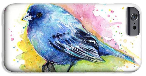 Bunting iPhone Cases - Indigo Bunting Blue Bird Watercolor iPhone Case by Olga Shvartsur