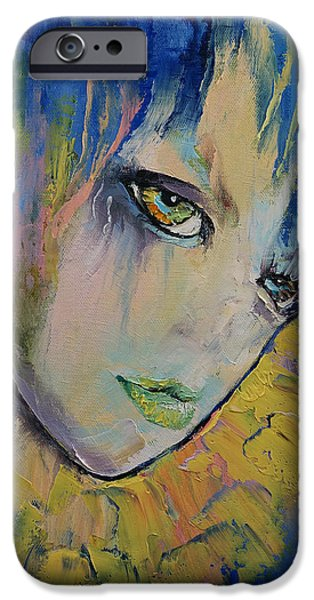 Young Paintings iPhone Cases - Indigo iPhone Case by Michael Creese