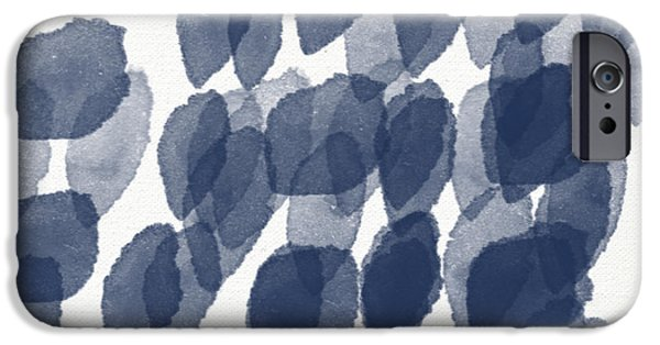 Interior iPhone Cases - Indigo Rain- abstract blue and white painting iPhone Case by Linda Woods