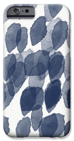 Indigo Rain- abstract blue and white painting iPhone Case by Linda Woods