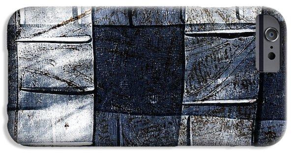 Denim iPhone Cases - Indigo Squares 2 of 5 iPhone Case by Carol Leigh