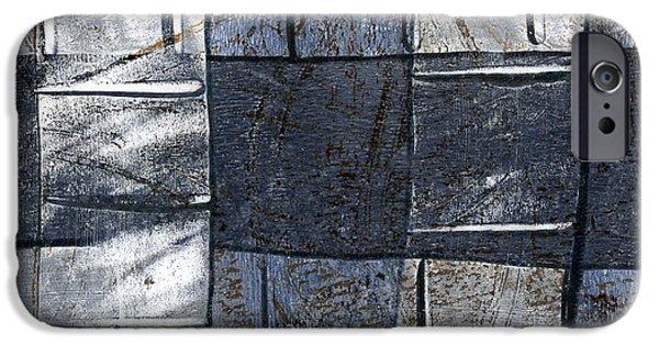 Denim iPhone Cases - Indigo Squares 3 of 5 iPhone Case by Carol Leigh