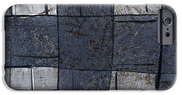 Denim iPhone Cases - Indigo Squares 5 of 5 iPhone Case by Carol Leigh