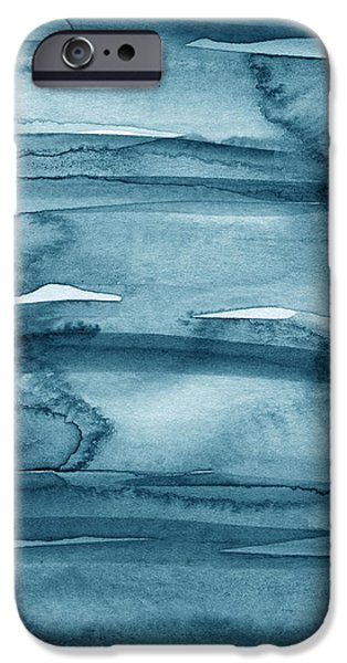Blue Abstracts Mixed Media iPhone Cases - Indigo Water- abstract painting iPhone Case by Linda Woods