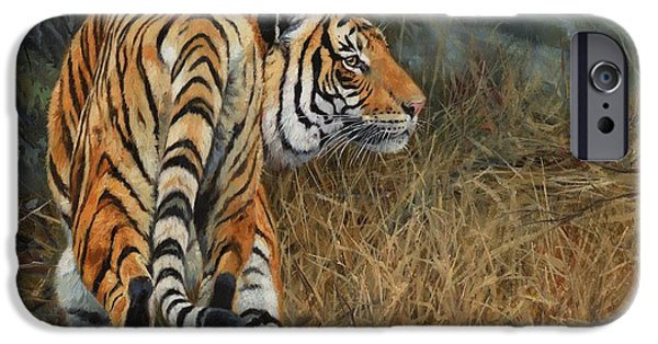 Asian Artist iPhone Cases - Indo-Chinese Tiger iPhone Case by David Stribbling