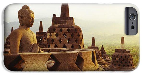 Buddhist iPhone Cases - Indonesia, Java, Borobudur Temple iPhone Case by Panoramic Images