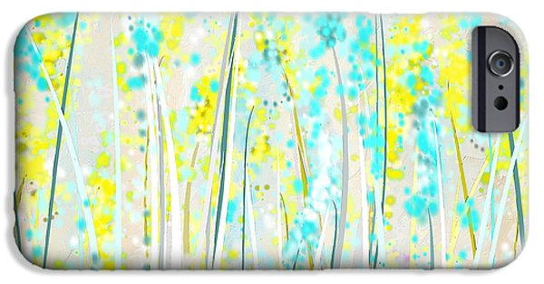 Brilliant Paintings iPhone Cases - Indoor Spring- Yellow And Teal Art iPhone Case by Lourry Legarde