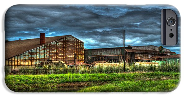 Dismay iPhone Cases - Industrial Complex with Angry Sky iPhone Case by Douglas Barnett